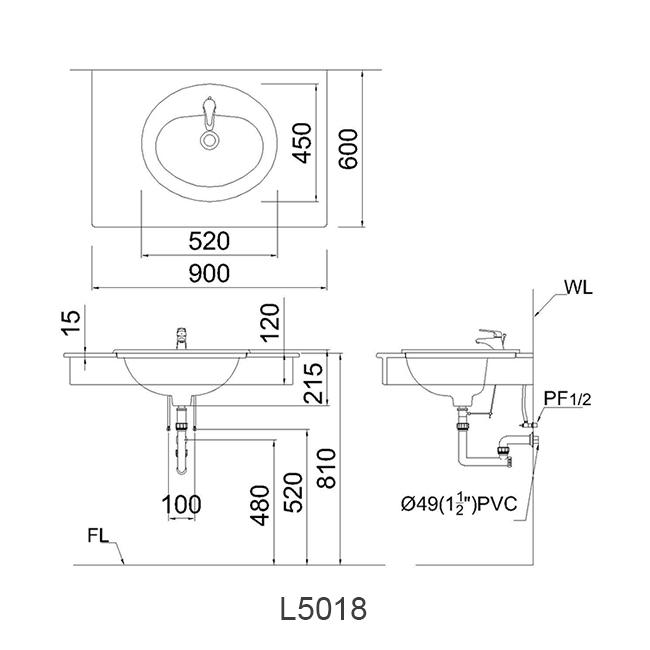 ban ve chau lavabo caesar L5018