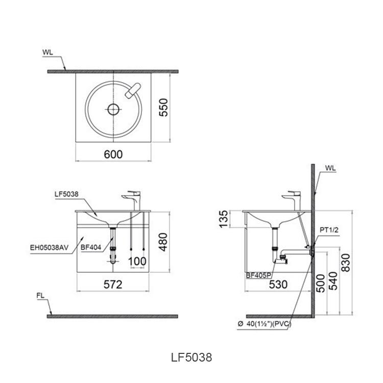 ban ve chau lavabo caesar LF5038