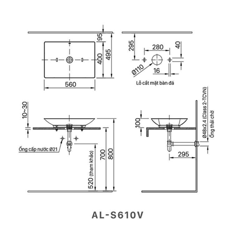 ban ve lavabo inax AL-S610V