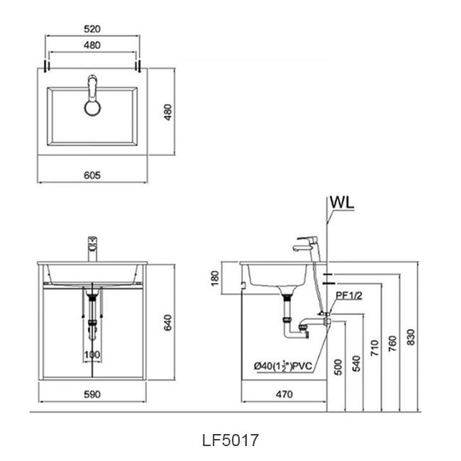 ban ve chau lavabo caesar LF5017