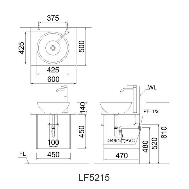ban ve chau lavabo caesar LF5215