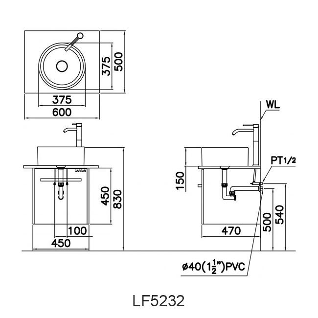 ban ve chau lavabo caesar LF5232