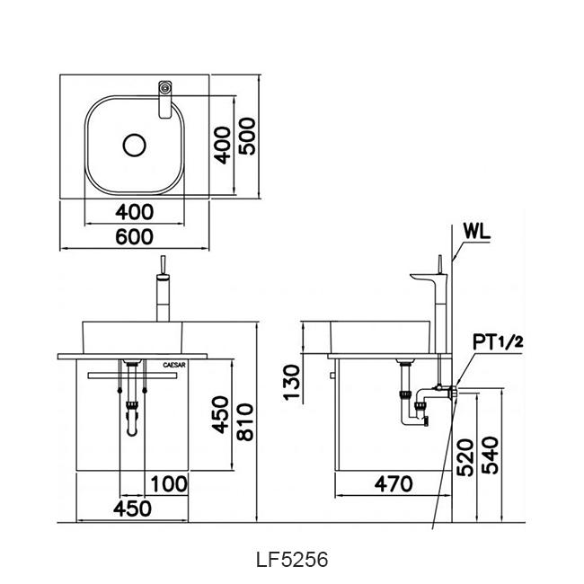 ban ve chau lavabo caesar LF5256