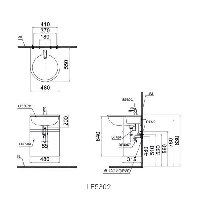 ban ve chau lavabo caesar LF5302
