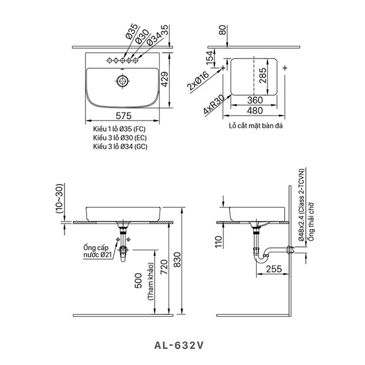 ban ve lavabo inax AL-632V
