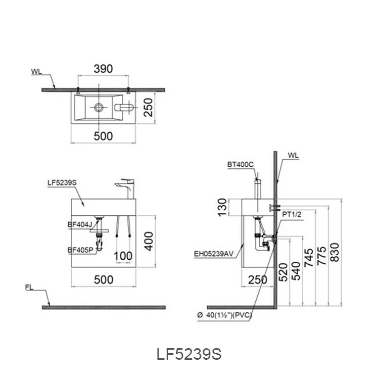 ban ve chau lavabo caesar LF5239S