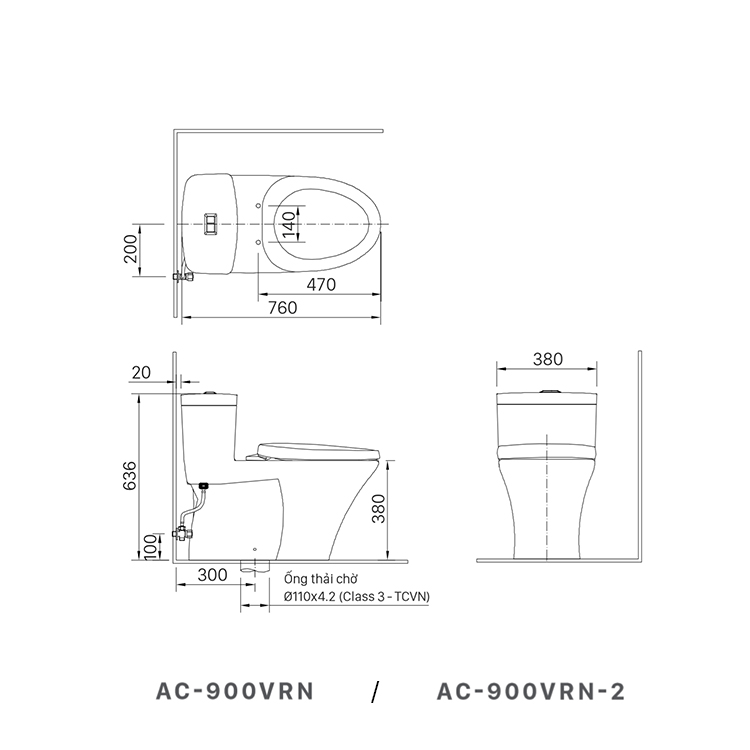 ban ve bon cau inax AC-900VRN
