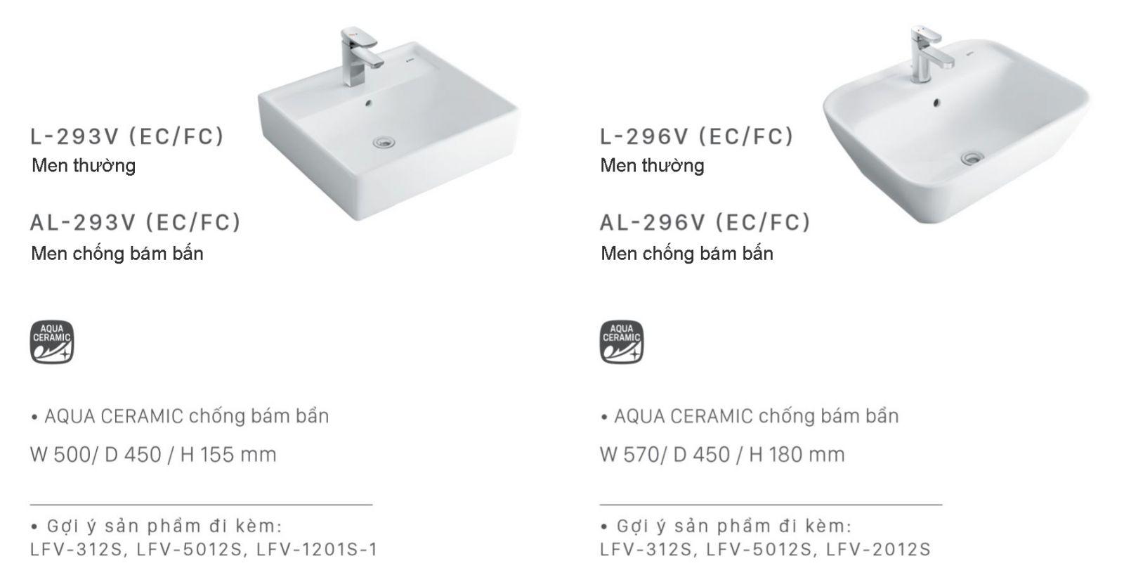 lavabo dat ban inax l293 chau rua mat inax l293
