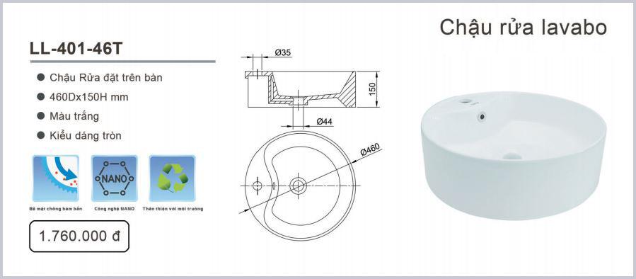 chau lavabo luxta ll-401-46t